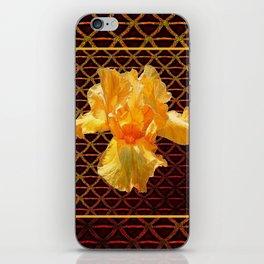 COFFEE BROWN ART PATTERN GOLDEN BEARDED IRIS iPhone Skin