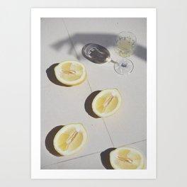 Champagne & Lemons Art Print