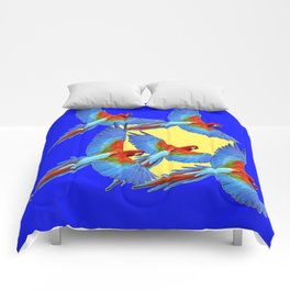 DECORATIVE FLOCK OF BLUE MACAWS & YELLOW Comforters