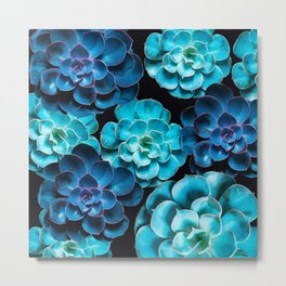 Succulent Plants In Blue And Turquoise Color #decor #society6 #homedecor Metal Print