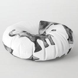 Elephants, black and white Floor Pillow