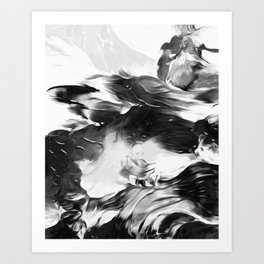 Raven: an abstract piece in hues of black and white by KKingCreations Art Print