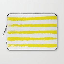 Sunny Yellow STRIPES Handpainted Brushstrokes Laptop Sleeve