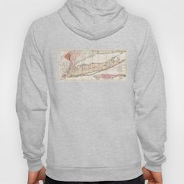 Long Island New York 1842 Mather Map Hoody