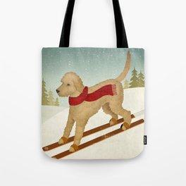 Doodle Schnoodle Whoodle Labradoodle Goldendoodle Ski Dog Tote Bag