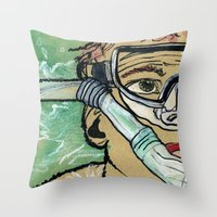 kevin russ Throw Pillows featuring Kevin Search by K. Fry Illustration