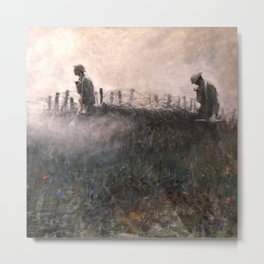 On the Wire War Landscape Painting by Harvey Thomas Dunn Metal Print