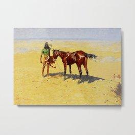 "Frederic Remington Western Art ""Hunted Down"" Metal Print"