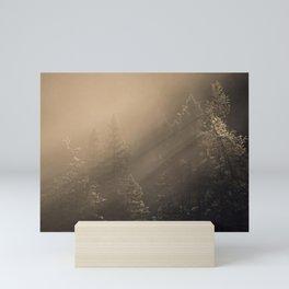 Sunrise in the forest Mini Art Print