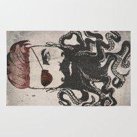 beard Area & Throw Rugs featuring Black Beard by Vin Zzep