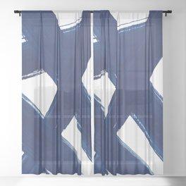 Indigo Abstract Brush Strokes | No. 3 Sheer Curtain