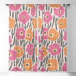 Mid Century Modern Wild Flowers Pattern Pink and Orange Sheer Curtain