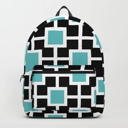 Classic Hollywood Regency Pattern 221 Turquoise and Black Backpack