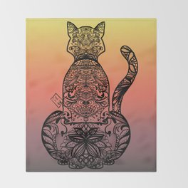 Sunset Cat Throw Blanket