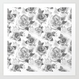 Hand painted black white watercolor roses floral pattern Art Print