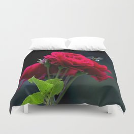Red Rose Pollination Duvet Cover