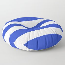 Persian blue - solid color - white stripes pattern Floor Pillow