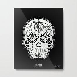 Día de Muertos Calavera • Mexican Sugar Skull – White on Black Metal Print