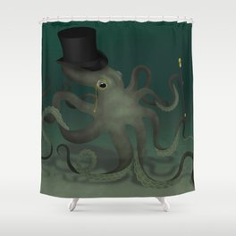 Octopus with a top hat Shower Curtain