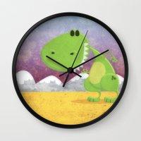 dinosaur Wall Clocks featuring dinosaur by Daniel Castrogiovanni
