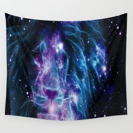 Leo Galaxy Lion : Purple Blue Wall Tapestry