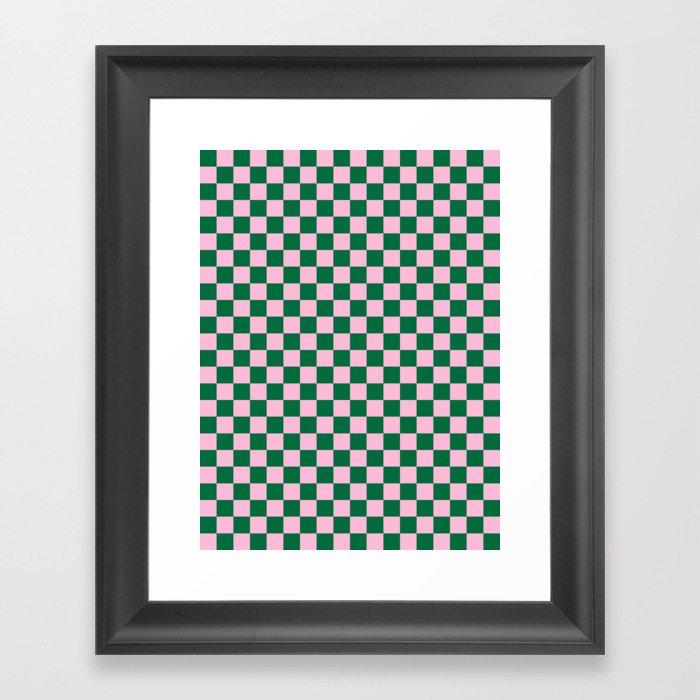 Cotton Candy Pink and Cadmium Green Checkerboard Gerahmter Kunstdruck