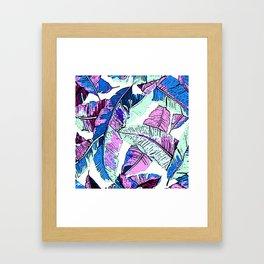 BANANA LEAF PALM PASTEL PINK AND BLUE Framed Art Print