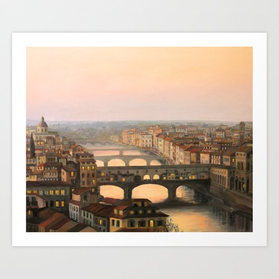 Sunset over ponte Vecchio in Florence Art Print