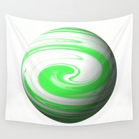 lime green Wall Tapestries featuring Lime Green & Milky White Sphere by Moonshine Paradise