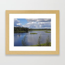 Green islets Framed Art Print