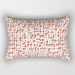 Red and White Abstract Drawn Cryptic Symbols Rectangular Pillow
