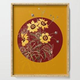 Vintage Botanical Coreopsis Elegans on Circle Red on Yellow Serving Tray