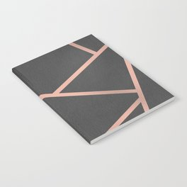 Dark Grey and Rose Gold Textured Fragments - Geometric Design Notebook