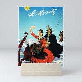 Vintage Ski Travel Poster - St-Moritz Mini Art Print