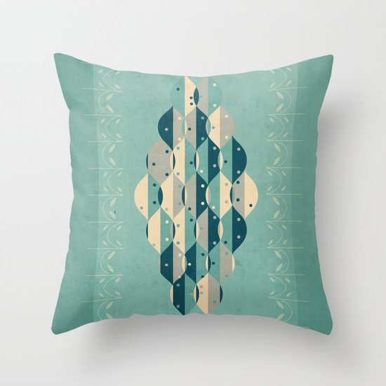 50's floral pattern IV Throw Pillow