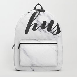 Hustle Text on Marble Black and White Backpack