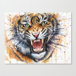 Tiger Watercolor Animal Painting Canvas Print