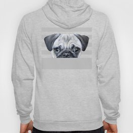 Pug with glasses Dog illustration original painting print Hoody