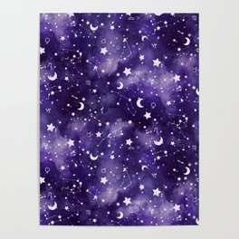 Zodiac Watercolor Ultraviolet Poster