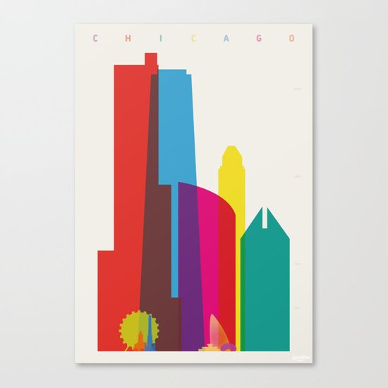 Shapes of Chicago. Accurate to scale Canvas Print