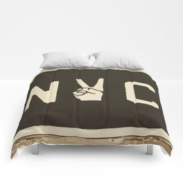 NYC Peace Sign (Color) Comforters