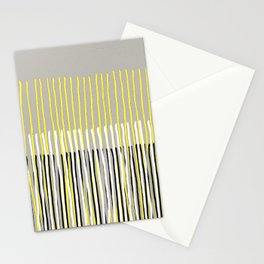 Yellow Rising - abstract stripes in yellow, grey, black & white Stationery Cards