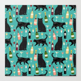 Black cat wine champagne cocktails cat breeds cat lover pattern art print Canvas Print