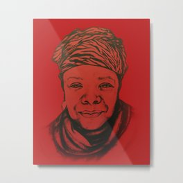 Maya Angelou - (red) Original Sketch to Digital Metal Print