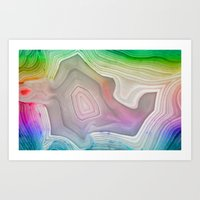 mineral Art Prints featuring MINERAL RAINBOW by Catspaws