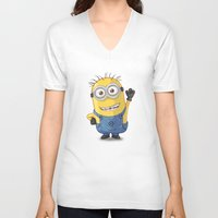 phil jones V-neck T-shirts featuring Minion - Phil by Konstantin Veter