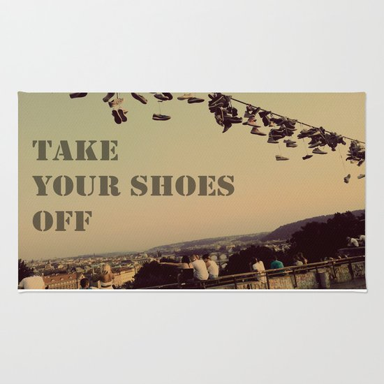 Take Your Shoes Off Rug By Amduf Society6