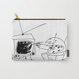 Saul Steinberg Man Painting Television, American Cartoonist Artwork Reproduction for Prints Posters Carry-All Pouch