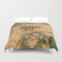 battlefield Duvet Covers featuring Vintage Map of The Gettysburg Battlefield (1863) 3 by BravuraMedia