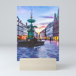 Photograph of a Warm Summer's Sunset over Copenhagen's Strøget Shopping Street Mini Art Print